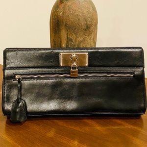 BCBGirls Black Leather Clutch With Lock